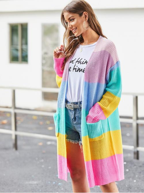 Casual Cardigan Colorblock and Striped Regular Fit Long Sleeve Regular Sleeve Multicolor Longline Length Patch Pocket Front Wide Rainbow Stripe Cardigan