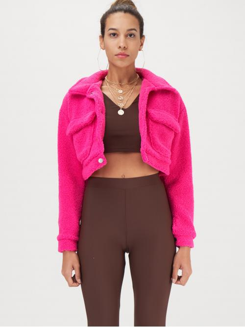 Casual Teddy Plain Regular Fit Collar Long Sleeve Regular Sleeve Single Breasted Pink and Bright Crop Length Neon Pink Dual Flap Pocket Teddy Jacket