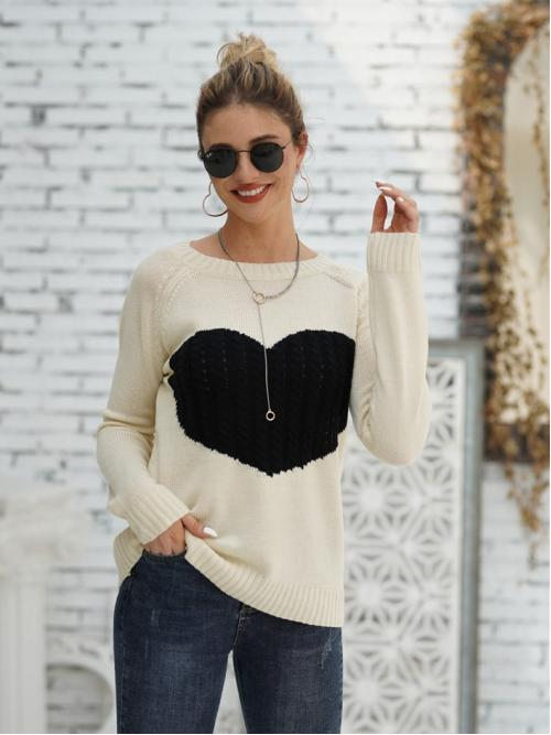 Casual Heart Pullovers Regular Fit Round Neck Long Sleeve Regular Sleeve Pullovers Beige Regular Length Heart Pattern Raglan Sleeve Sweater