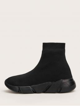 Black Running Shoes Round Toe High-top Wide Fit Sock Sneakers Beautiful