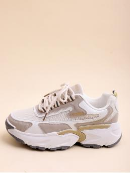 Womens White Chunky Trainers Flatform Low-top Color Block Front Chunky Sneakers