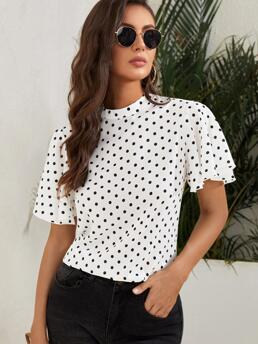 Womens Short Sleeve Top Button Polyester Keyhole Back Blouse