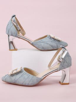 Discount Blue Glitter Rubber Pu Leather Faux Pearl Decor Ankle Strap Sculptural Heels