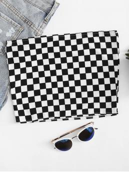 Sexy Plaid Regular Fit Strapless Black and White Crop Length Gingham Crop Tube Top
