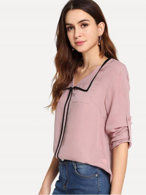 Trending now Long Sleeve Top Pocket Polyester Contrast Binding Roll Tab Sleeve Top