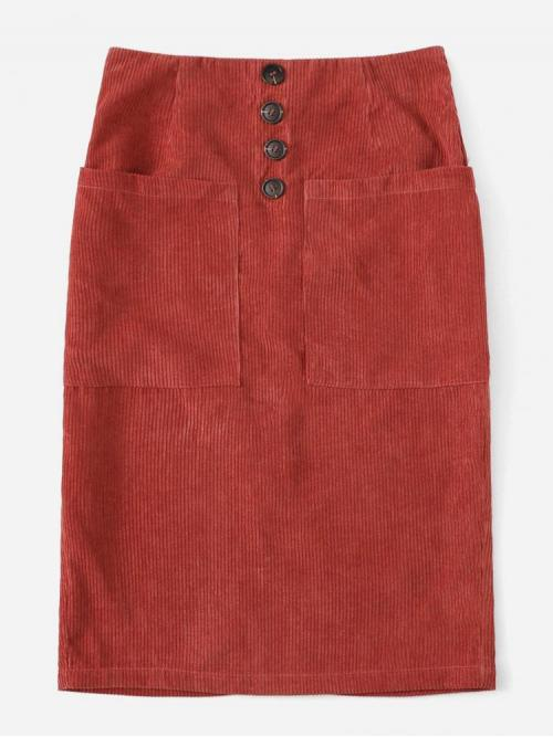 Red Natural Waist Pocket Straight Patched Button Detail Slit Clearance