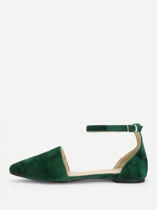 Corduroy Green Ballet Buckle Two Part Ankle Flats Discount