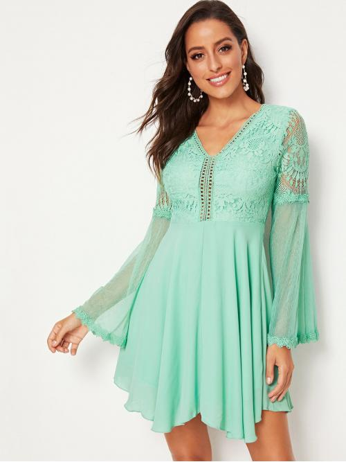 Romantic A Line Plain Flared Regular Fit V neck Long Sleeve Flounce Sleeve High Waist Green and Pastel Short Length Tassel Tied Open Back Bell Sleeve Lace Bodice Dress with Lining