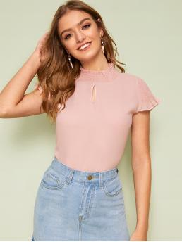 Casual Plain Top Regular Fit Stand Collar Cap Sleeve Pullovers Pink Regular Length Cut Out Shirred Solid Blouse