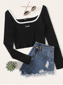 Casual Letter Slim Fit Scoop Neck Long Sleeve Regular Sleeve Pullovers Black Crop Length Contrast Trim Embroidered Rib-knit Tee