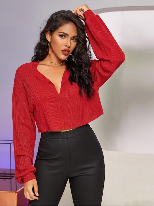 Casual Plain Regular Fit V neck Long Sleeve Bishop Sleeve Pullovers Red and Bright Crop Length Rib-knit Lantern Sleeve Crop Tee