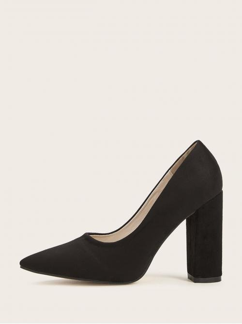Business Casual Plain Black Chunky Point Toe Suede Chunky Heels