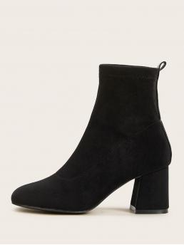 Business Casual Sock Boots Square Toe Plain No zipper Black Mid Heel Chunky Suede Chunky Heeled Ankle Boots