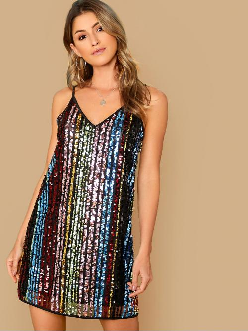 Glamorous Cami Striped Straight Regular Fit V neck and Spaghetti Strap Sleeveless Natural Multicolor Short Length Double V-neck Sequin Slip Dress with Lining