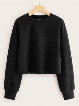 Casual Plain Regular Fit Round Neck Long Sleeve Regular Sleeve Pullovers Black Crop Length Drop Shoulder Rib-knit Top