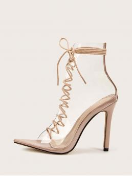 Glamorous Peep Toe Plain Lace Up Apricot High Heel Stiletto Open Toe Lace-up Front Stiletto Heels