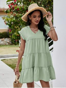 Pretty Mint Green Plain Ruffle Hem V Neck Frill Trim Dress