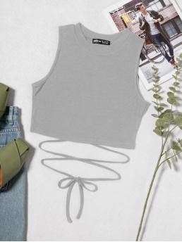 Tank Lace up Polyester Plain Waist Top Trending now