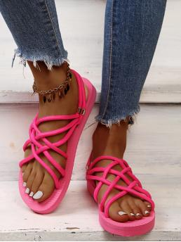 Beautiful Hot Pink Strappy Sandals Flat Fabric Neon Pink Sandals