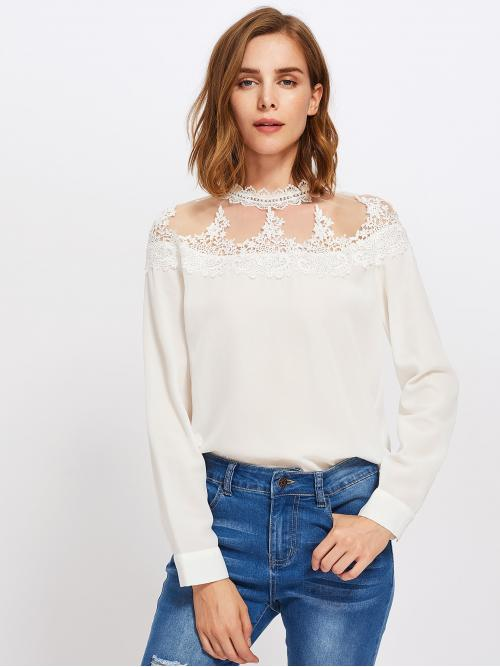 Long Sleeve Top Appliques Chiffon Mesh Yoke Lace Applique Keyhole Back Blouse Pretty
