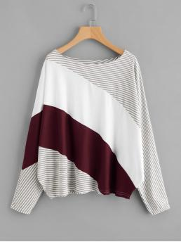 Casual Striped and Colorblock Oversized Boat Neck Long Sleeve Multicolor Cut And Sew Striped Tee