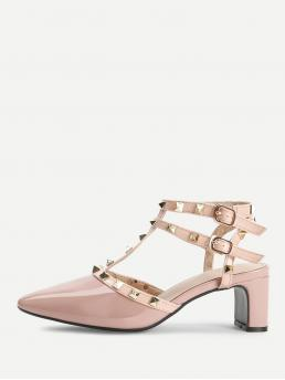 Ankle Strap Point Toe Plain Gladiator and Strappy and T strap Pink Mid Heel Chunky Rivet Detail Gladiator Chunky Heels