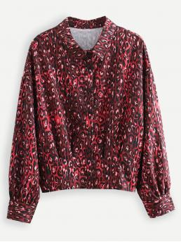Casual Leopard Shirt Regular Fit Collar Long Sleeve Placket Red Regular Length Leopard Print Blouse