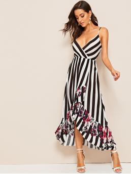 Boho Cami Floral and Striped Wrap Regular Fit Deep V Neck and Spaghetti Strap Sleeveless High Waist Black and White Long Length Floral and Striped Dip Hem Cami Dress
