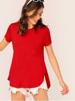 Casual Plain Asymmetrical Regular Fit Round Neck Short Sleeve Pullovers Red and Bright Regular Length Curved Hem Asymmetrical Solid Tee