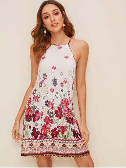 Boho Cami Floral and Tribal Straight Loose Spaghetti Strap Sleeveless Natural White Short Length Floral Print Cami Dress