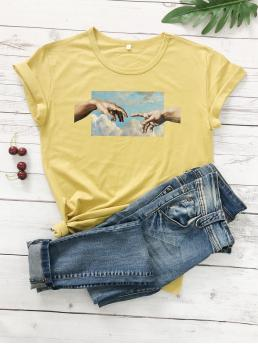 Casual Figure Regular Fit Round Neck Short Sleeve Pullovers Yellow Regular Length Gesture And Sky Print Tee