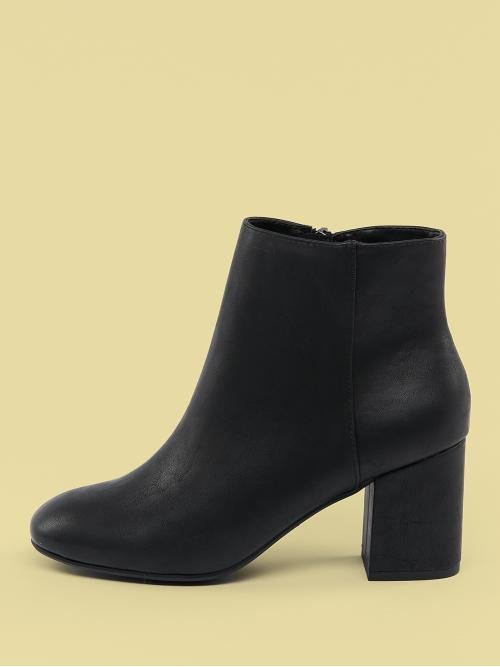 Business Casual Other Plain Side zipper Black High Heel Chunky Round Toe Chunky Heel Side Zip Ankle Boots