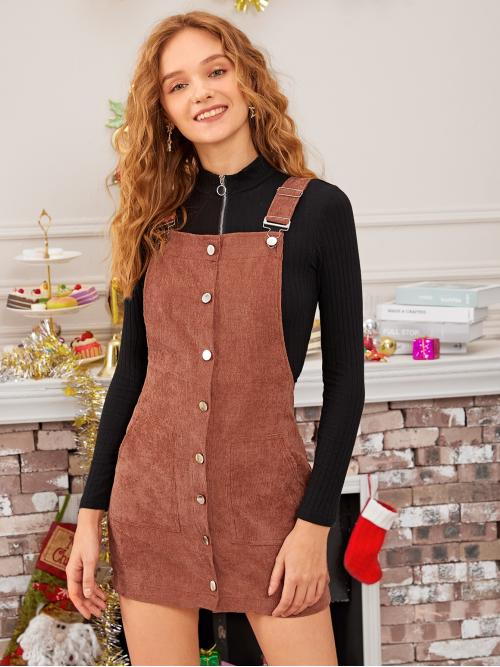 Preppy Pinafore Plain Straight Regular Fit Straps Sleeveless Natural Brown Short Length Solid Button Through Corduroy Overall Dress