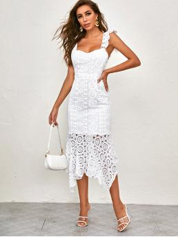 Elegant Fitted Plain Asymmetrical Slim Fit Sweetheart Sleeveless High Waist White Long Length Lace Ruffle Hem Zip Back Fitted Dress with Lining