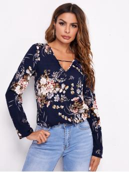 Long Sleeve Top Cut out Polyester Peekaboo Top Affordable