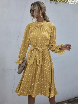 Discount Mustard Yellow Polka Dot Plicated Stand Collar Frill Neck Dress
