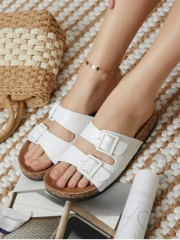 Womens White Footbedsandals Cut out Flat Quilted Pleatherd Platform Sandals