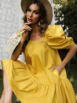 Womens Yellow Plain Shirred Square Neck Solid Babydoll Dress