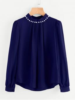 Elegant Plain Top Regular Fit Stand Collar Long Sleeve Navy Pearl Beading Puff Sleeve Chiffon Blouse