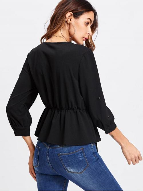 Three Quarter Length Sleeve Shirt Beaded Polyester Knot Front Beading Peplum Plunge Blouse Pretty