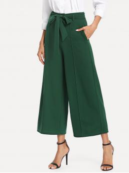 Elegant Plain Wide Leg Regular High Waist Green Cropped Length Pocket Side Belted Culotte Pants with Belt