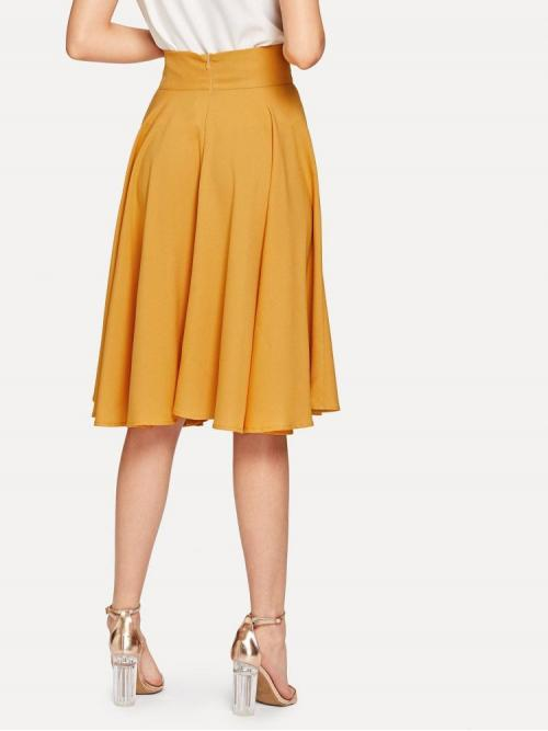 Womens Mustard Yellow High Waist Zipper Flared High Rise Wide Waistband Circle