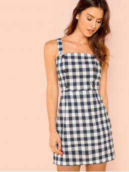 Preppy Cami Gingham Loose Straps Sleeveless High Waist Blue Short Length Thick Strap Button Detail Gingham Dress