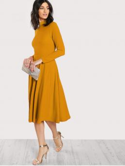 Affordable Mustard Yellow Plain Button High Neck Mock Neck Keyhole Back Flare Dress