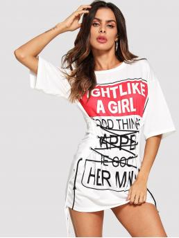 Casual Letter Regular Fit Boat Neck Half Sleeve Pullovers White Longline Length Letter Print Lace Up Front Tee
