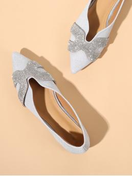 Pretty Corduroy Silver Ballet Embroidery Rhinestone Decorated Flats