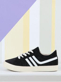 Corduroy Black Skate Shoes Bow Sneakers with Stripe Detail Fashion