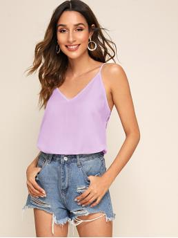 Casual Cami Plain Regular Fit Spaghetti Strap and V neck Purple and Pastel Regular Length Double V-neck Cami Top