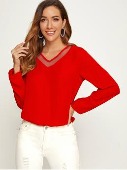 Casual Plain Top Regular Fit V neck Long Sleeve Regular Sleeve Pullovers Red and Bright Regular Length Mesh Insert Solid Top