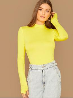 Elegant Plain Slim Fit Stand Collar Long Sleeve Regular Sleeve Pullovers Yellow and Bright Regular Length Neon Yellow Mock-neck Thumb Hole Tee